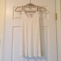 """Adorable sequin top tank Super cute and soft white tank with gold sequin design at top. Measures 27"""" long from shoulder to bottom. NWT! Old Navy Tops Tank Tops"""