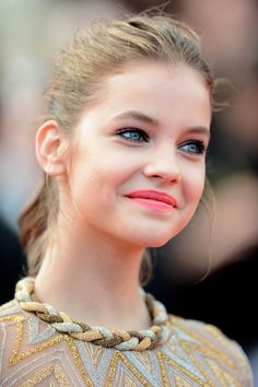 Makeup+neckline beading. Model, Barbara Palvin - Cannes Film Festival, May 2012.