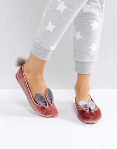 Ted Baker Bellamo Pink Velvet Bunny Slippers