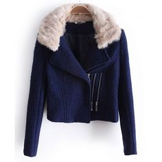 Faux Fur Collar fashion Coat (£90) ❤ liked on Polyvore featuring outerwear, coats, jackets, casacos, blue coat, wool blend coat and faux fur collar coats