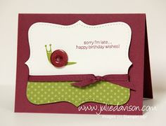 Julie's Stamping Spot -- Stampin' Up! Project Ideas Posted Daily: Button Buddies Belated Birthday Card