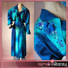 Vintage 1980s Silk Blue & Green Cowboy Rhinestone Beaded Zip Front Dress #vintagedress  http://www.ebay.co.uk/itm/Vintage-1980s-Silk-Blue-Green-Cowboy-Rhinestone-Beaded-Zip-Front-Dress-UK14-/371637736945?ssPageName=STRK:MESE:IT