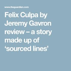 Felix Culpa by Jeremy Gavron review – a story made up of 'sourced lines'