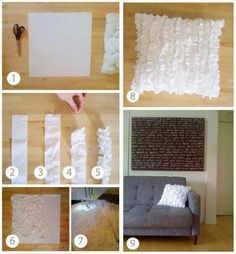 Ruffle pillow diy, I like this sooo much! Sewing Pillows, Diy Pillows, Decorative Pillows, Crafty Projects, Diy Projects To Try, Home Projects, Cute Crafts, Diy And Crafts, Ruffle Pillow