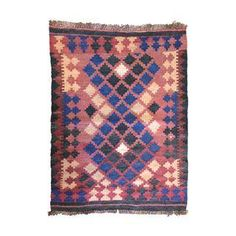 Vintage Small Red and Navy Kilim Rug