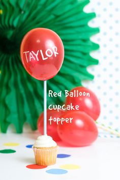 DIY Red Balloon Cupcake Topper