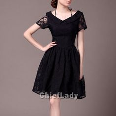 Black Lace Dress Elegant Formal Dress Retro by Chieflady on Etsy, $91.00