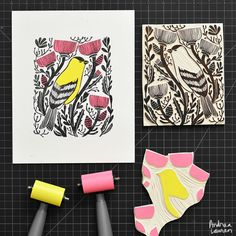 Goldfinch: Original Block Print by Andrea Lauren via Andrea Lauren. Click on the image to see more!