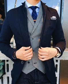 casual suiting with denim   LMX(see more men's fashions here)