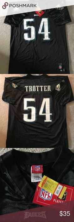 Philadelphia Eagles Jersey #54 NWT: New with Tags Black Reebok Philadelphia Eagles Jersey. Short Sleeve, #54 Jeremiah Trotter Jersey. Size XL. Perfect Condition. Reebok Shirts
