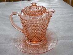 PINK AMERICAN PIONEER DEPRESSION GLASS BATTER PITCHER W/ LID AND UNDERPLATE !