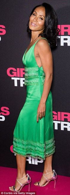 Jada Pinkett Smith dazzles in a beaded emerald silk dress | Daily Mail Online