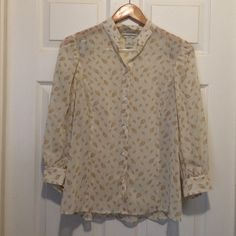 Banana Republic Blouse Sheer button down blouse with leaf pattern Banana Republic Tops Blouses
