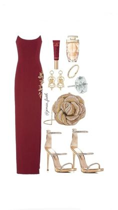 100 Get ready for a night out in a formal mix of burgundy and gold. #ShopStyle #shopthelook #MyShopStyle #WeddingGuestLooks #BlackTieLooks #WeekendLook #DateNight #GirlsNightOut #OOTD