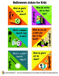 Silly Halloween jokes for kids from Creative Teaching Press!