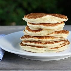 Coconut Pancakes - the most delicious pancakes I have ever made... Omit the sugar & replace canola oil with coconut oil