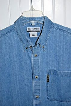 Columbia Men's Large Blue Jean Long Sleeve Button Front Casual  Shirt  #Columbia #ButtonFront