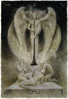 Luis Royo - The Labyrinth Tarot - Major Arcana: Judgement 20 / Pluto. Liberation, judgment, inner calling, transformation. Accounting for past actions, revaluation and revival, dropping old values, embracing new ones, accepting things the way we are, there is noone to blame, not even yourself.