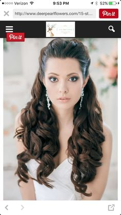 Wedding Hair Down - Wedding Hair Inspiration: 12 Ways you can wear your long hair down to your wedding. Wedding Hairstyles Half Up Half Down, Wedding Hairstyles For Long Hair, Down Hairstyles, Pretty Hairstyles, Hairstyle Ideas, Bridal Hairstyles, Bridesmaid Hairstyles, Half Updo, Hairstyles 2018