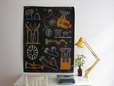 ORIGINAL Dr Auzoux Chalk Plate XXL-RARE pull down by vintageekho