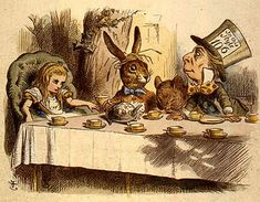 """Sir John Tenniel's """"Teaparty."""" In attendance - one Mad March Hare."""