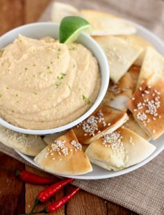 Sriracha White Bean Dip with Sesame Pita Chips