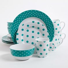 Isaac Mizrahi Dot Luxe 16-Piece Dinnerware Set, Teal Isaac Mizrahi http://www.amazon.com/dp/B00JXQO5OO/ref=cm_sw_r_pi_dp_2..Utb1BSR119EME