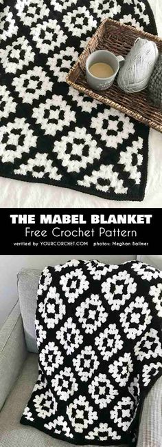 The Mabel Blanket Easy Granny Square Tutorial Free Crochet Pattern Granny Square Afghan for Beginners Black and White Blanket #freecrochetpattern #crochetblanket #themabelblanket #grannysquare