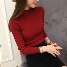 Women Half Turtleneck Solid Kintwear Korean Autumn New Fashion High Elastic Slim Sweaters Long Sleeve Ladies Pullover Tops 62810