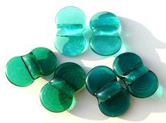 Wing Dings-Teal Tide handmade lampwork bead set of 3 by Genea