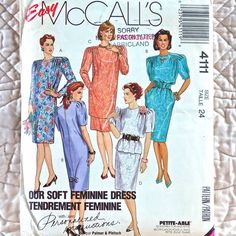 4111 McCALLS Uncut PATTERN 1989 Women Pleated Front Tunic Top Dress Round Neck Pleated Long Or Short Sleeve Caps Pull-On Skirt Size 24 3-oz