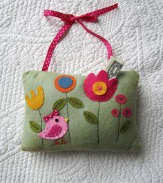 Girls Tooth Fairy Pillow Felt Bird Door Pillow by babywhatknots