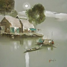 The Vietnamese painter Dang Van Can Elephant Cartoon Images, Village Drawing, Moonlight Painting, Atelier D Art, Winter Painting, Sketch Painting, Realistic Drawings, Mural Art, Abstract Landscape