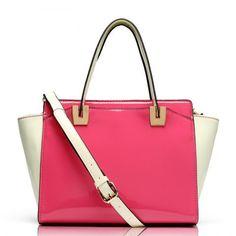 Contrast Color Rose Lady Tote Shoulder Handbag