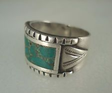 OLD NAVAJO STAMPED SILVER WIDE BAND RING w/ TURQUOISE INLAY sz 10.5