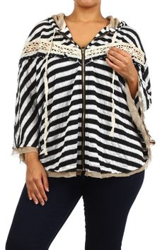 Striped, zippered, hooded sweater with an oversize fit and crochet lace trim. Sweater has dolman sleeves.