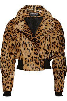 Balmain Leopard-print calf hair bomber jacket | NET-A-PORTER