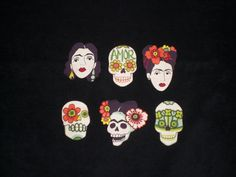 Lovely set of three fabric iron on patches of Frida and three sugar skulls from the Alexander Henry print gotas de amor each patch is approx. 3 inches tall and two inches wide and are carefully hand cut and bonded onto Ultra Heat N Bond adhesive-the strongest no sew adhesive available.   Patches come with easy step by step instructions for application and washing instructions. Heat N Bond advises against machine sewing the ultra product, if you wish to machine sew the patches, type in…