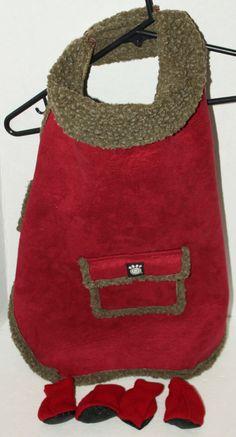 PETRAGEOUS DESIGNS LARGE RED DOG COAT & ANTISKID BOOT SET PET CLOTHES CLOTHING #PetrageousDesigns