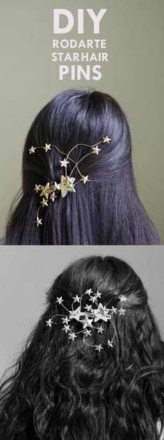 Perfect for special holidays or occasions. DIY Rodarte Star Hair Pins Tutorial #crafts #tutorials #diy #holidays #gifts
