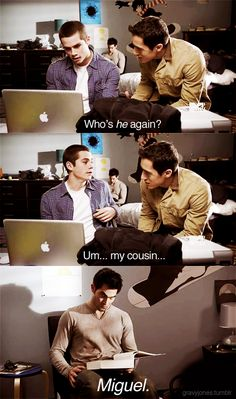 I don't really like this show but this was funny.Dylan O'Brien is amazing. Stiles lying to Danny about Derek being his cousin Miguel on Teen Wolf. Dylan O'brien, Teen Wolf Dylan, Teen Wolf Stiles, Teen Wolf Cast, Stiles Derek, Teen Wolf Derek Hale, Teen Wolf Memes, Teen Wolf Quotes, Teen Wolf Funny
