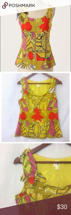 """Anthropologie Edme & Esyllte Plantain Lily Tank 6 Anthropologie Edme & Esyllte Plantain Lily 3D Embellished Leaves Tank Top  • Sz 6 • Abundant leaves sprout from the shoulder of this exotic print, hued of extra ripe fruit skins • Side zip • Cotton • Machine washable • Fully lined • Measured flat • 18"""" bust  • 16.5"""" waist  • 23.5"""" length • Very good pre-loved condition, no imperfections, no signs of wear Anthropologie Tops Tank Tops"""