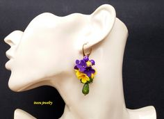 Flower Earrings, Statement Earrings, Romantic Earrings, Spring Jewelry, Yellow Earrings, Purple Earrings, Colourful Jewelry, Gift For Her