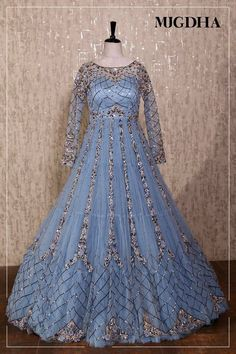 Powder blue floor length gown fully embroidered and zari work in criss-cross pattern . 06 December 2018 Indian Long Dress, Indian Gowns Dresses, Royal Dresses, Evening Dresses, Girls Dresses, Indian Bridal Outfits, Pakistani Bridal Dresses, Pakistani Dress Design, Indian Designer Outfits
