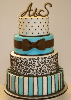 Blue and Brown Wedding cake-cute