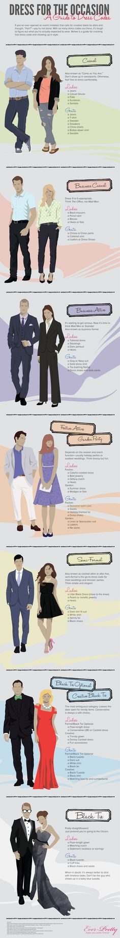 Dress for the Occasion- A Guide to Dress Codes #infographic