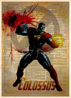 #Colossus Xmen, Splatter superhero art, Vintage dictionary print, Colossus art print