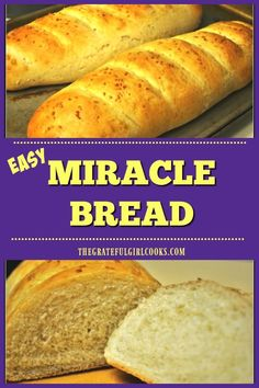 Miracle Bread (easy homemade french bread) / The Grateful Girl cooks! Miracle Bread (easy homemade french bread) / The Grateful Girl cooks! Bread Machine Recipes, Easy Bread Recipes, Cooking Recipes, Cooking Tips, Cooking Games, Quick Bread, Homemade French Bread, Easy Homemade Bread, Easy French Bread Recipe