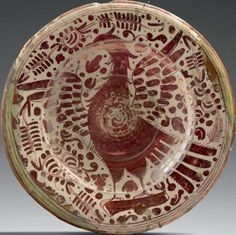 SPANISH FLAT MAURESQUE Earthenware gloss D. 33.5 cm Spain (Manises) fifteenth / sixteenth century few nicks and gaps in the glaze earthenware European marli its origins in the Islamic world