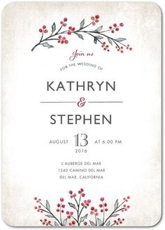 Cherished Sprigs - Signature White Textured Wedding Invitations - Lady Jae - Winterberry - Red : Front
